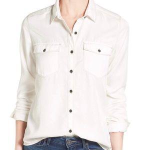 EUC Halogen two-pocket tencel shirt